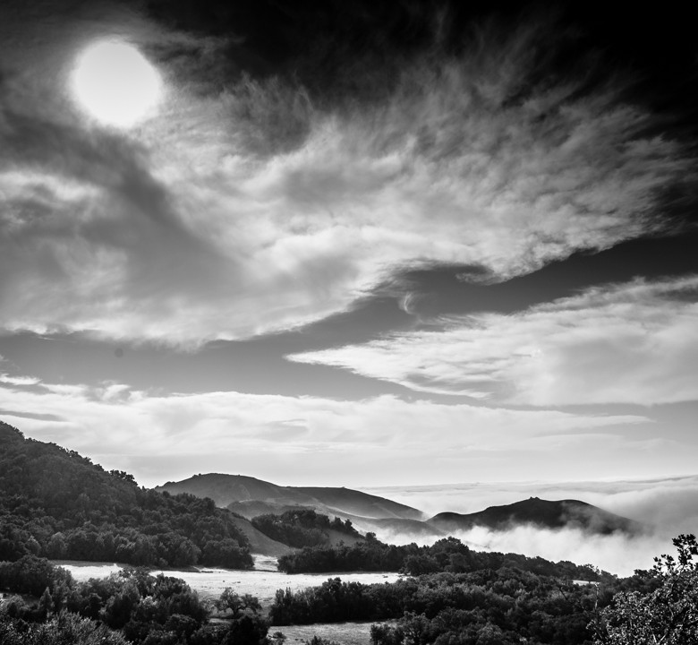 Black & White Mountaintop Landscape