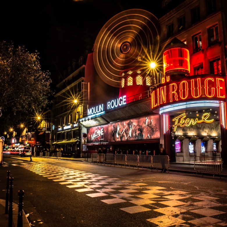 Landscape Nighttime Outside the Moulin Rouge Paris France