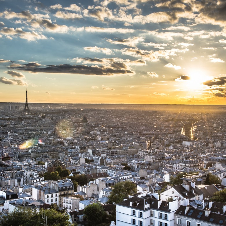 Landscape Sunset Over Paris France